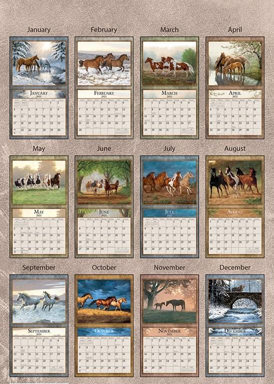 Horses in the Mist 2021 Lang Kalender Maandplaatjes